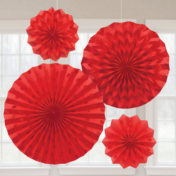 Apple Red Glitter Paper Fans (4)